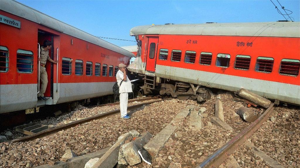 Nine coaches of Azamgarh-Delhi Kaifiyat Express train derailed after colliding with a dumper in Auraiya district of Uttar Pradesh on Wednesday.