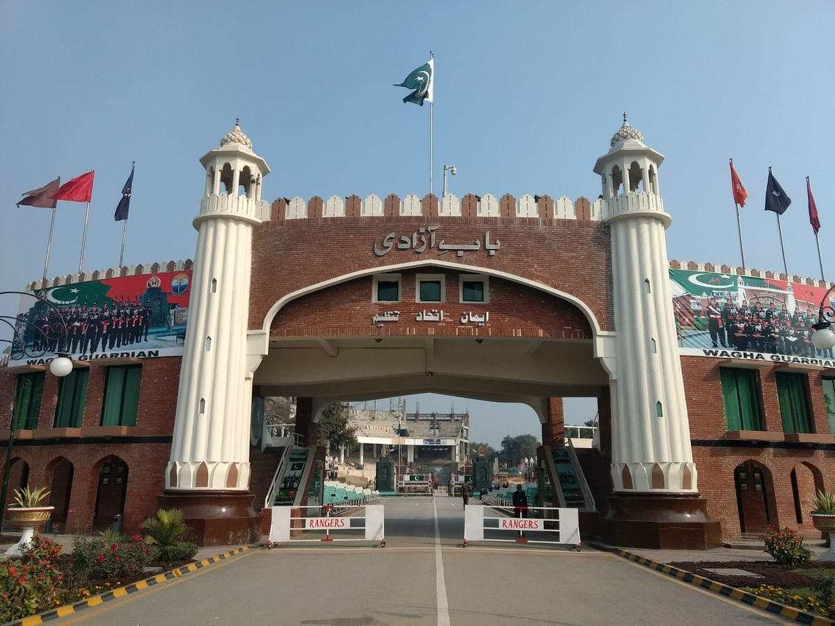 The Baab e Azaadi gate at the Wagha border clicked from the Pakistan side.