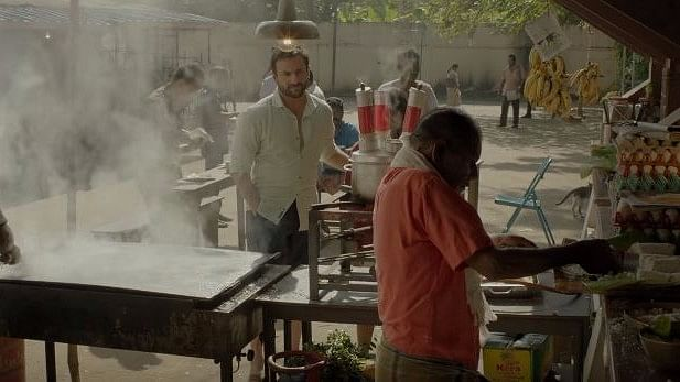 Saif Ali Khan in a still from<i> Chef. </i>