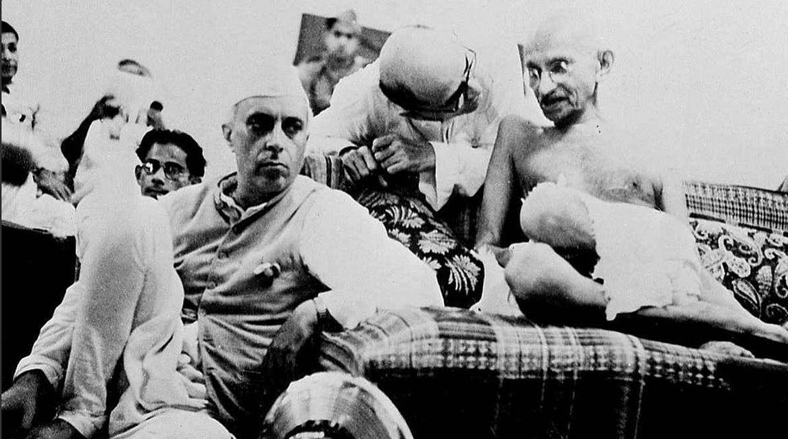 Mahatma Gandhi and Pandit Jawaharlal Nehru.