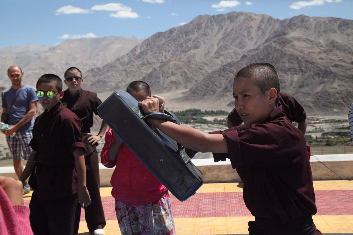 The Kung-Fu nuns in action.