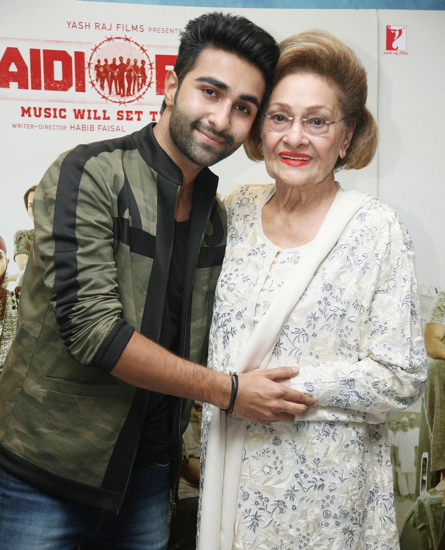 Aadar with grandmother Krishna Raj Kapoor.