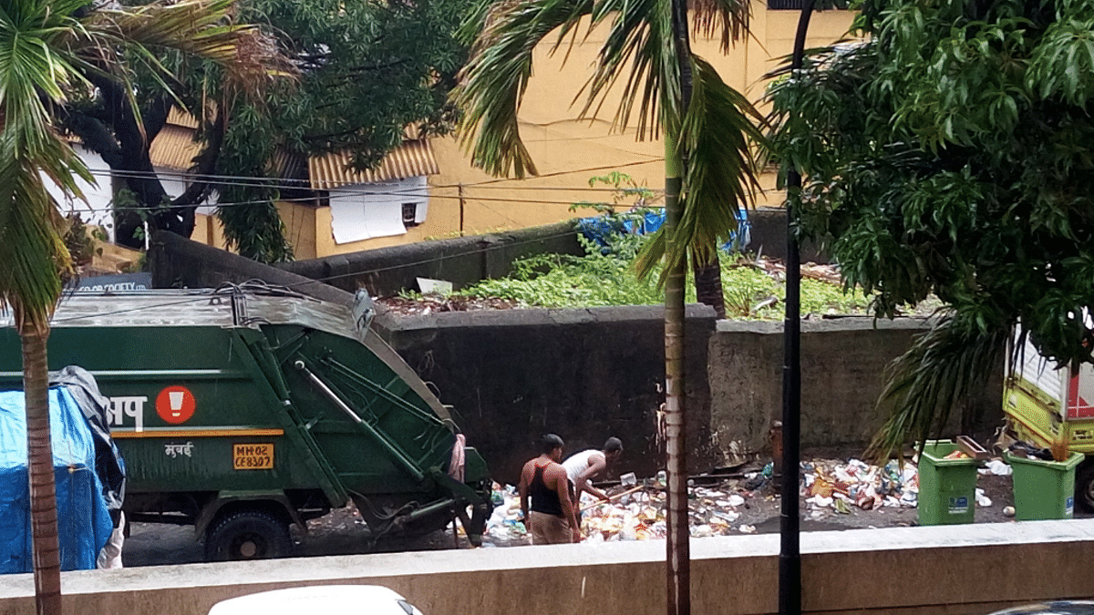 Waste collection truck in Mumbai.