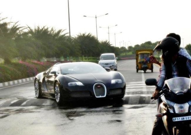 This image of a Bugatti Veyron trying to negotiate a non-standard Indian speed breaker in Hyderabad went viral.