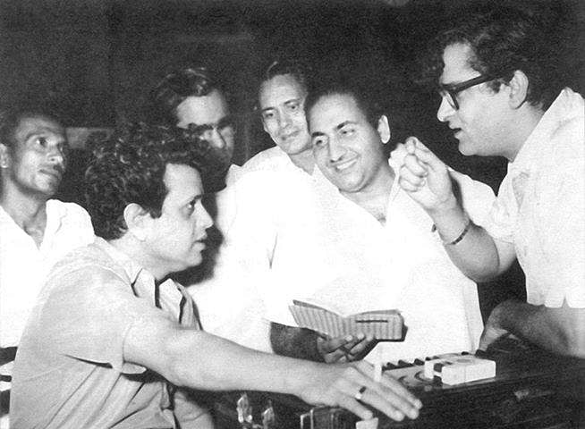 Shammi Kapoor with Mohammad Rafi and Shankar Jaikishan.