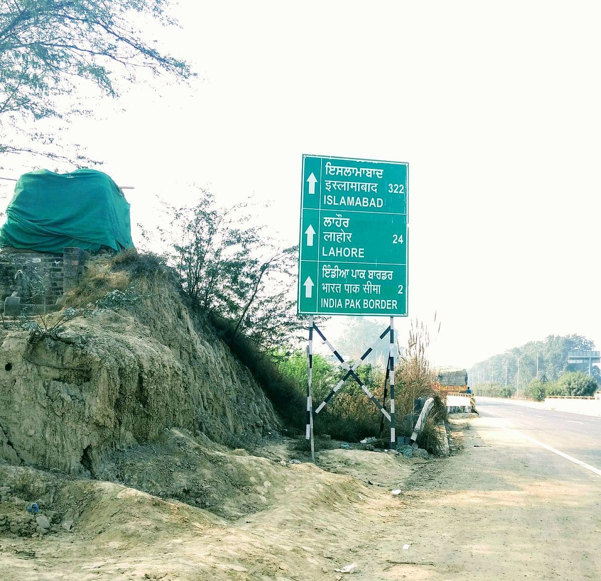 The signboard near the India-Pakistan border at Atari.