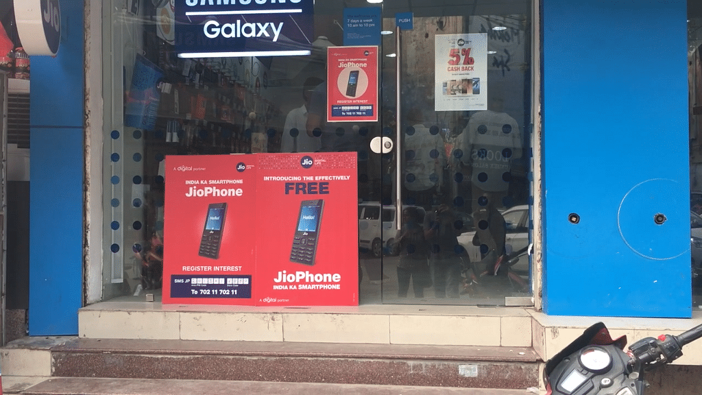 Jio store in Noida during the opening day of the JioPhone pre-booking