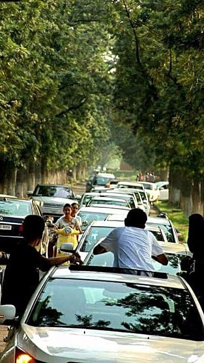 Cars move at snails pace, when eve-teasing is at peak.