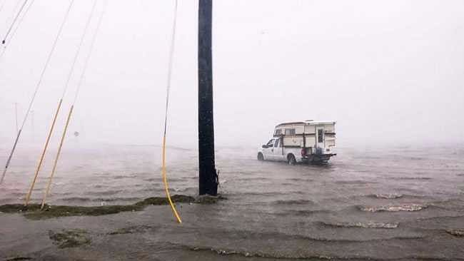 A vehicle caught in Hurricane Harvey.