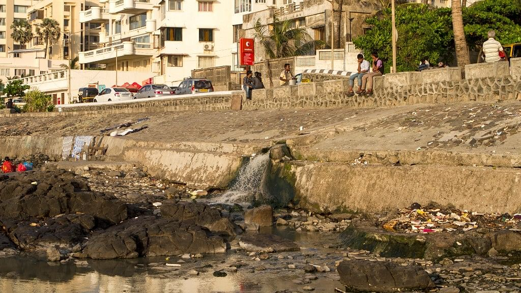 Dirty water pouring from a drain in Mumbai.