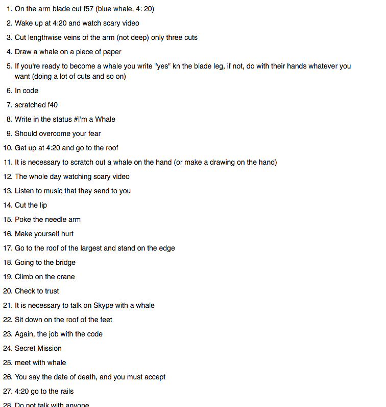The basic list of tasks to be completed under the challenge.