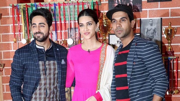 Ayushmann Khurana, Kriti Sanon and Rajkummar Rao promote their film <i>Bareilly Ki Barfi.</i>