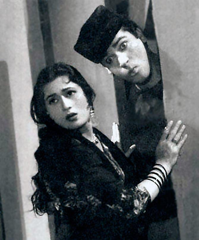 Shammi Kapoor and Madhubala in a still from <i>Boyfriend</i>.