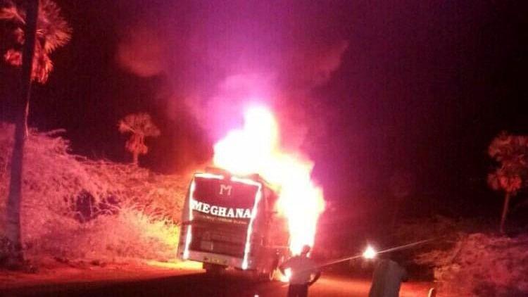 The Vijayawada-bound bus that caught fire.