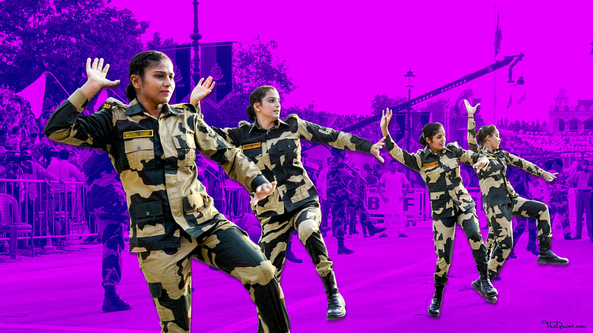 BSF soldiers perform during a ceremony to mark Independence Day celebrations at the India-Pakistan Wagah border post near Amritsar on 15 August 2017.