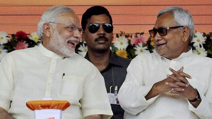 PM Narendra Modi with Bihar Chief Minister Nitish Kumar.