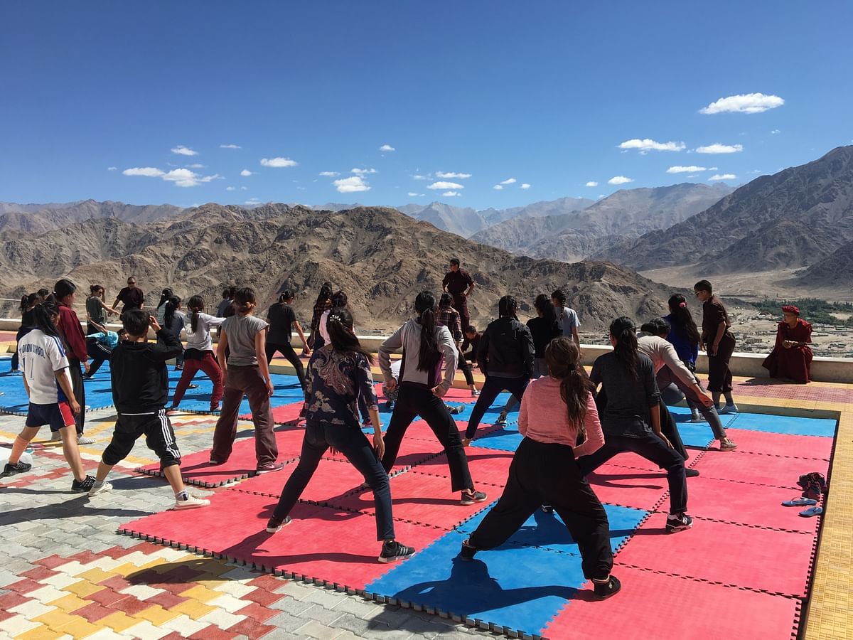 Supervised training session of young women  in the hilly region of Ladakh.