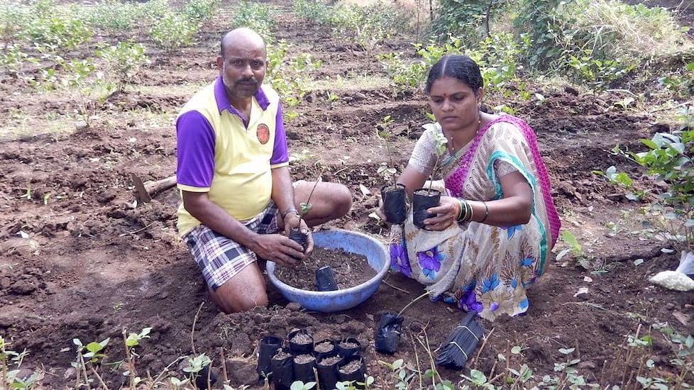 Sangita, a homemaker, helps her husband on the farm and takes care of their two children.