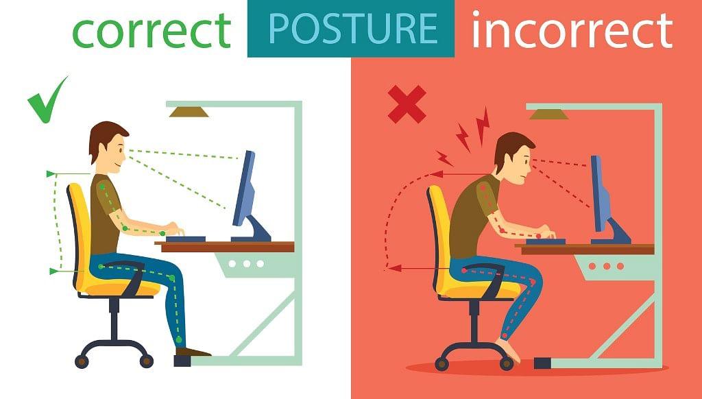 Correct sitting posture.