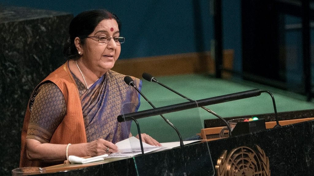 """Sushma at UNGA: """"We're Fighting Poverty, Pak Is Fighting Us"""""""