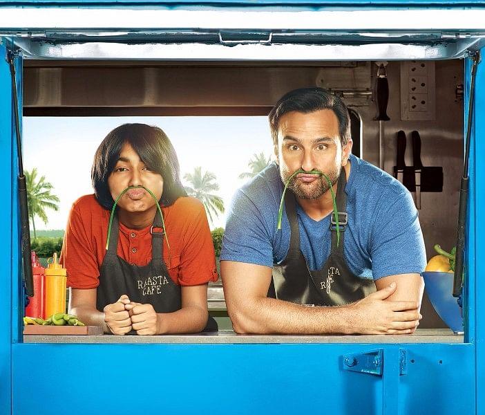 Saif Ali Khan with Svar Kamble on the poster of <i>Chef.</i>
