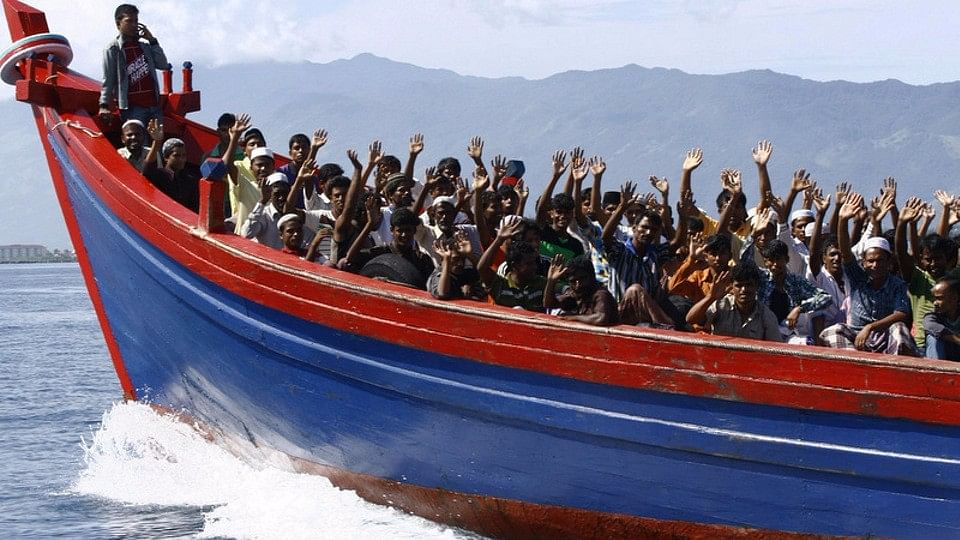 Rohingya refugees being transported  to a temporary shelter.