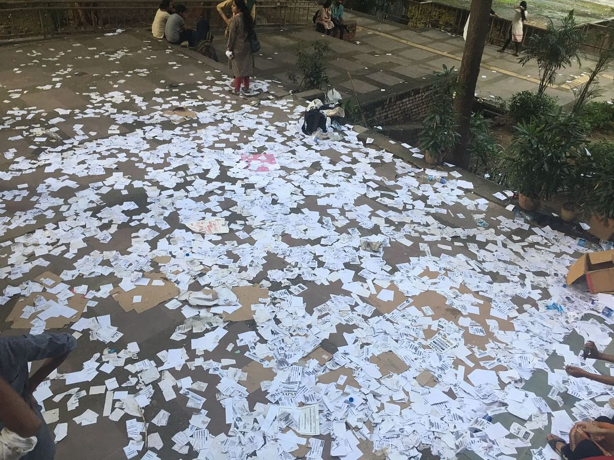 Campaign pamphlets strewn across the JNU campus.