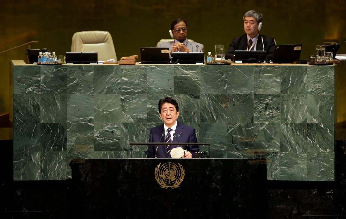 Japanese Prime Minister Shinzo Abe speaking during the United Nations General Assembly.
