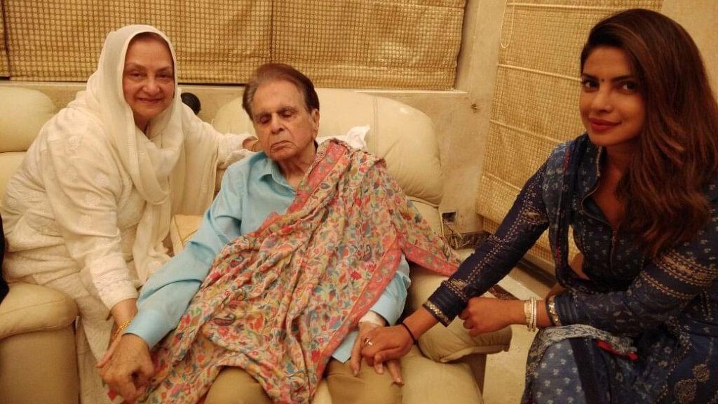 Priyanka Chopra with Dilip Kumar and Saira Banu.