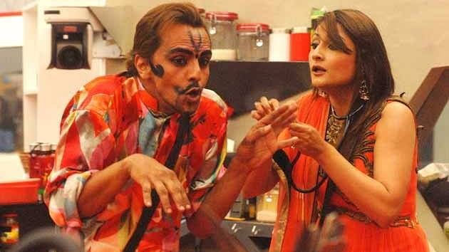 Imam and Uravshi during a task in <i>Bigg Boss </i>house.