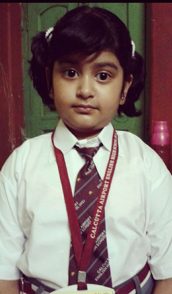 Shubhangi Chatterjee, a student of class 3, at Calcutta Airport English High School