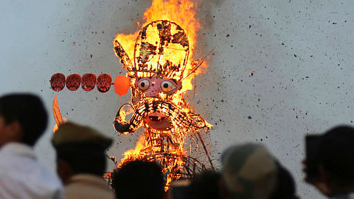 File image of effigy of demon king Ravana going up in flames in Jammu. Image used for representational purposes.