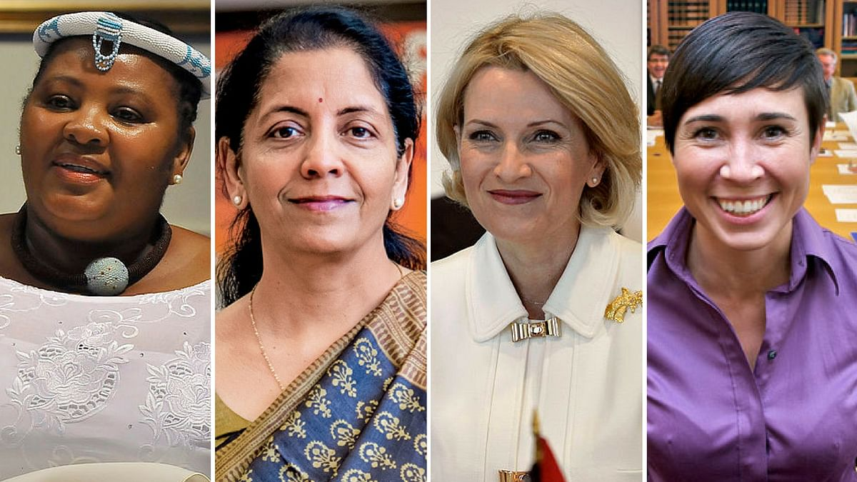 Women defence ministers from around the world (L to R): South Africa's Nosiviwe Mapisa-Nqakula, India's Nirmala Sitharaman, Albania's Mimi Kodheli and Norway's Ine Marie Eriksen Søreide.