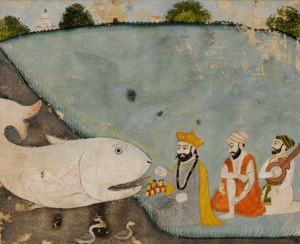 Guru Nanak with Bala, Mardana, and the great fish (Vishnu in Matsyavatara)