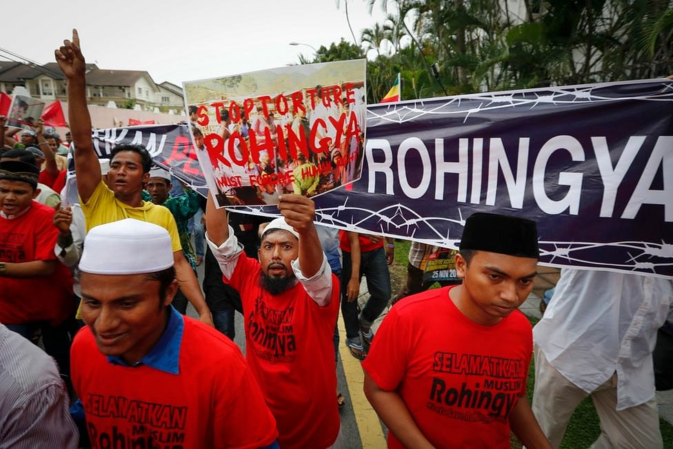 Ethnic Rohingya groups protesting against violence meted out on them.