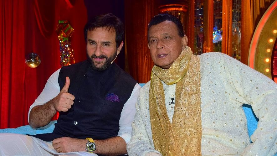 Saif Ali Khan is all thumbs-up to be seated next to Mithun Chakraborty.