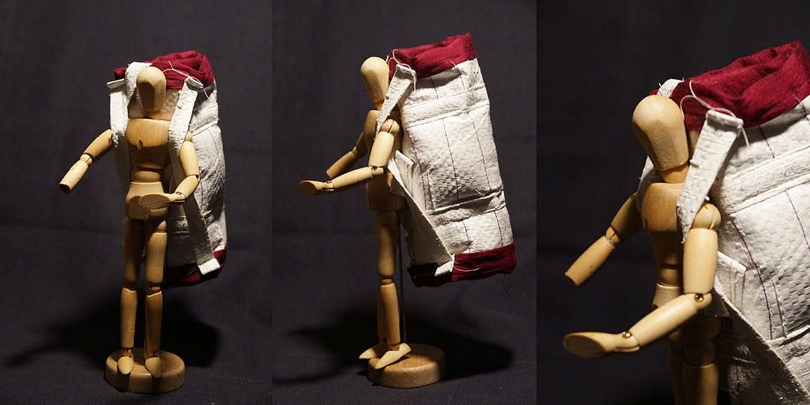 A model of the upcycled cement holdall.