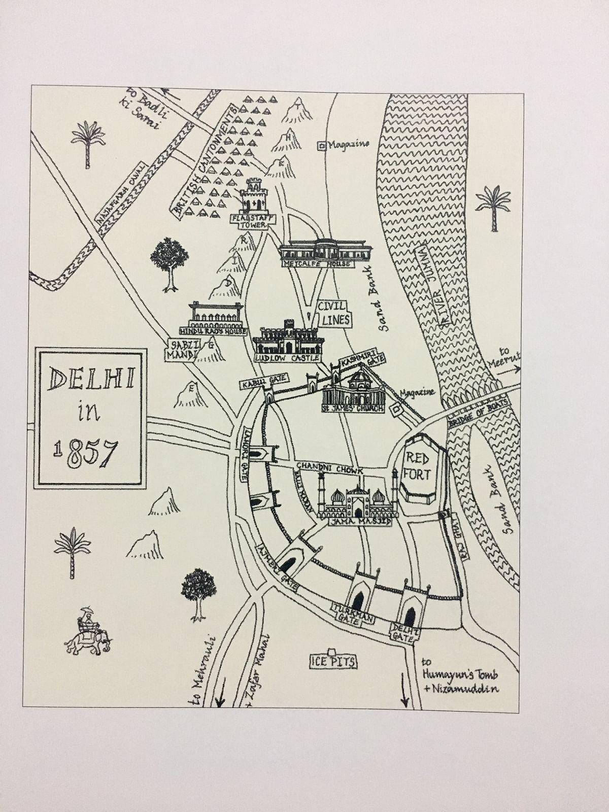 Artist's sketch of Delhi, 1857.
