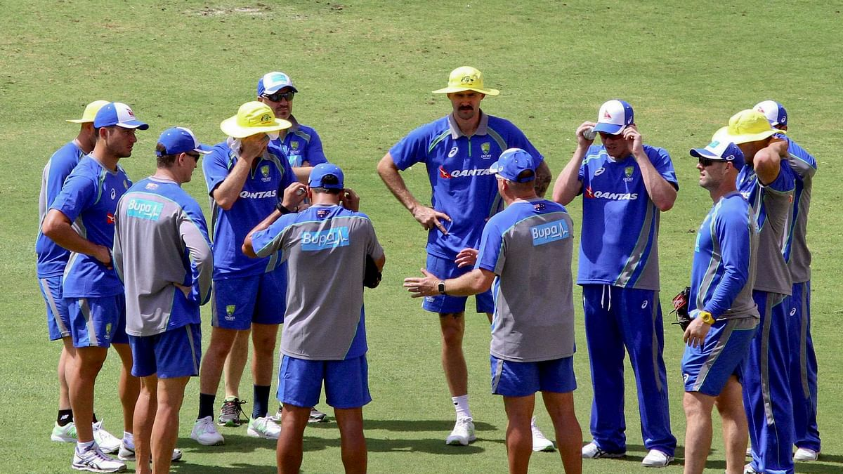 Australian cricket team  during a practice session in Chennai