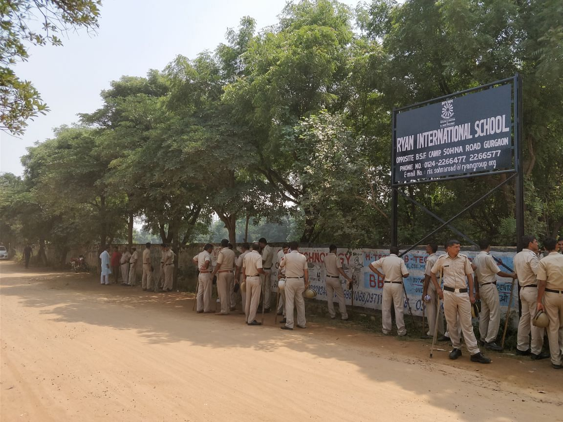 Heavy police presence in the school after the murder.