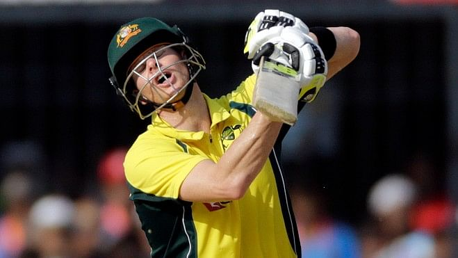 Steve Smith reacts during the third ODI against India.