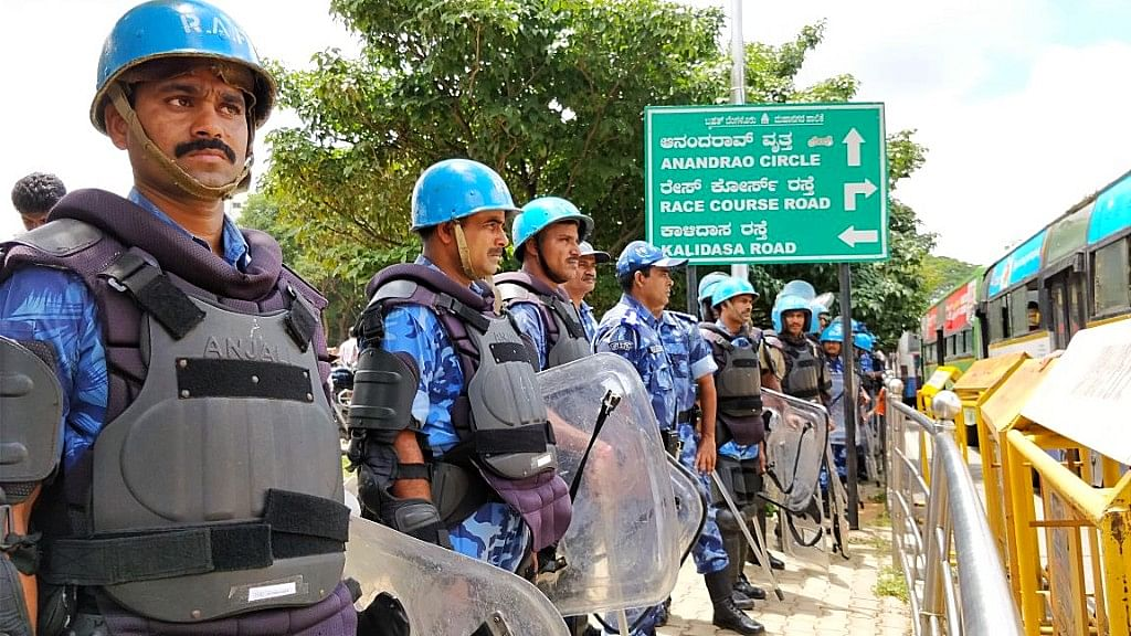 More than 600 policemen and 140 central forces were deployed at Bengaluru's Freedom Park on Tuesday.