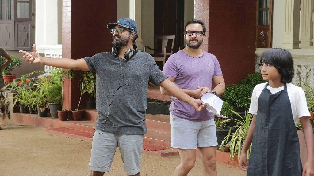 Raja Krishna Menon with Saif Ali Khan and Svar Kamble while shooting for <i>Chef </i>in Kerala.