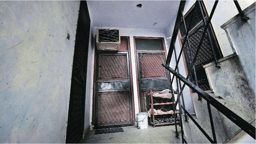 The view as one climbs the steps to the first floor of Batla House. The alleged terrorists fired before the police officers could turn to face the door on their right.