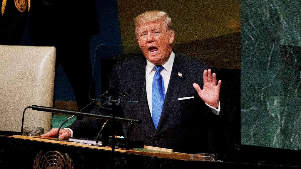 US President Donald Trump during his maiden address to the United Nations General Assembly.