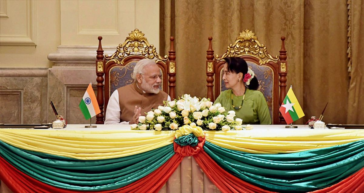 PM Modi with the State Counsellor of Myanmar Aung San Suu Kyi, at Presidential Palace in Naypyidaw, Myanmar