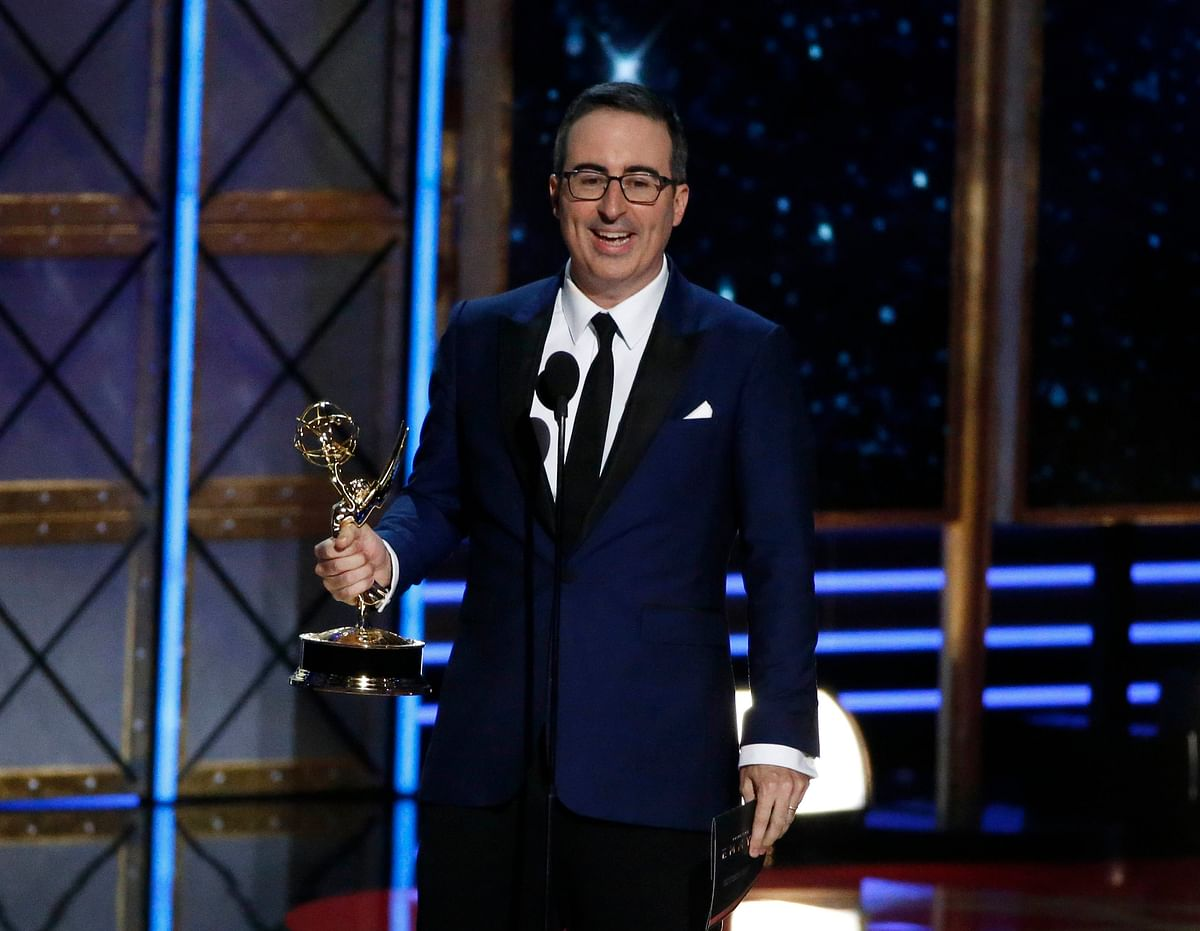 "69th Primetime Emmy Awards: John Oliver accepts the award for Outstanding Writing for a Variety Series for ""Last Week Tonight with John Oliver."""