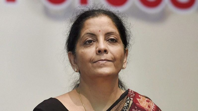 Defence Minister Nirmala Sitharaman during a conference on Role of Defence Public Sector Undertakings and Ordnance Factory Boards in Supporting Central Armed Forces organised by the Department of Defence Production at DRDO Bhavan in New Delhi on Thursday.