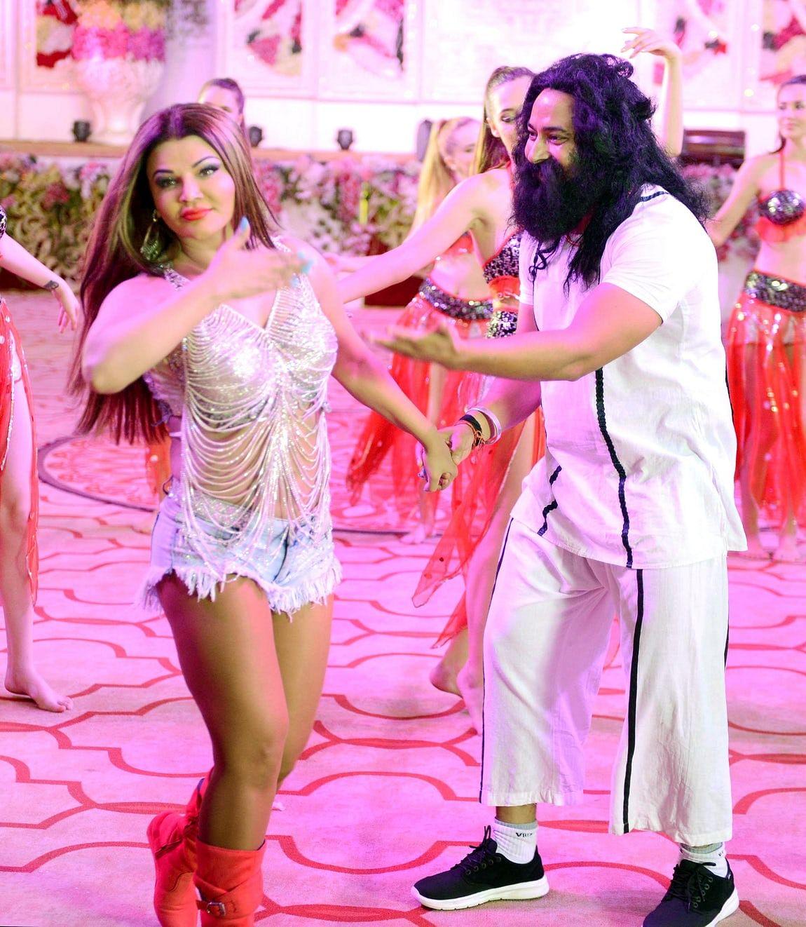 Rakhi Sawant on the sets of her film based on Gurmeet Ram Rahim Singh.