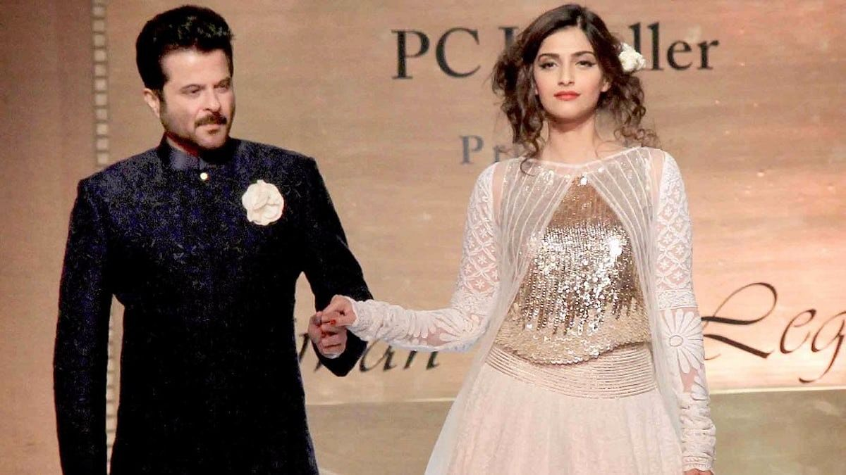 Anil Kapoor with Sonam Kapoor at an event.